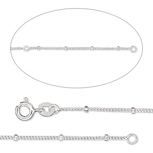 chain, sterling silver, 1mm curb and 1.8mm rondelle bead, adjustable at 18 and 20 inches with springring clasp. sold individually.