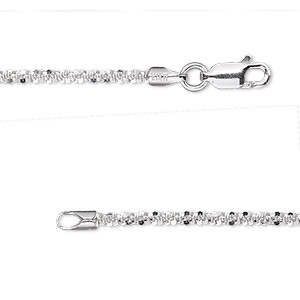 chain, sterling silver, 2.1mm diamond-cut crisscross, 18 inches with lobster claw clasp. sold individually.
