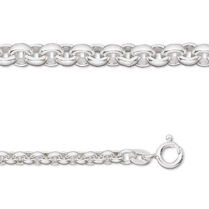 chain, sterling silver, 2.9mm rolo, 24-inch. sold individually.