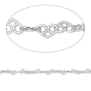 chain, sterling silver, 2mm heart links. sold per pkg of 5 feet.
