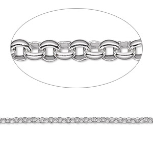chain, sterling silver, 2mm rolo. sold per pkg of 5 feet.