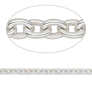 chain, sterling silver, 3.5mm cable. sold per 50-foot spool.