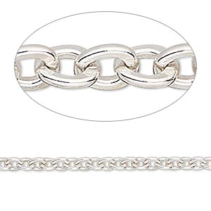 chain, sterling silver, 3.6mm flat cable. sold per 50-foot spool.