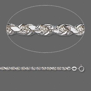chain, sterling silver, 3.75mm french rope, 30 inches. sold individually.
