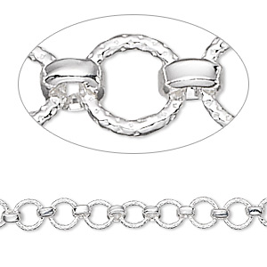 chain, sterling silver, 5.5mm textured rounds with 3mm links. sold per pkg of 5 feet.