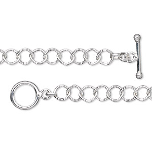 chain, sterling silver, 5mm diamond cable, 7 inches with toggle clasp. sold individually.