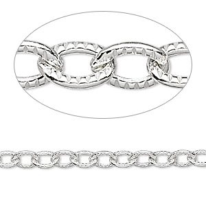 chain, sterling silver, 6.5x5mm ribbed cable. sold per pkg of 5 feet.