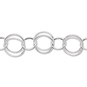 chain, sterling silver, 8mm round and 10.5mm double loop round. sold per pkg of 5 feet.