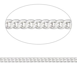 chain, sterling silver-filled, 2.7mm curb. sold per pkg of 5 feet.