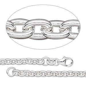 chain, sterling silver-filled, 3mm cable, 24 inches with lobster claw clasp. sold individually.