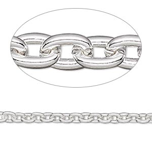 chain, sterling silver-filled, 3mm cable. sold per 50-foot spool.