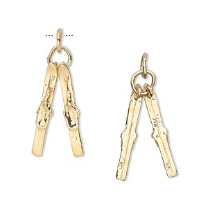 charm, 14kt gold, 20x4mm pair of skis. sold individually.