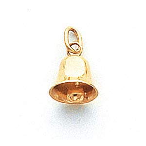 charm, 14kt gold, 9x7.5mm bell. sold individually.