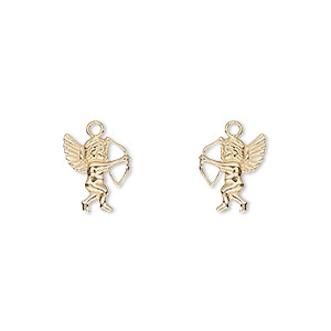 charm, 14kt gold-filled, 11x9mm single-sided left- and right-facing cupid. sold per pkg of 2.