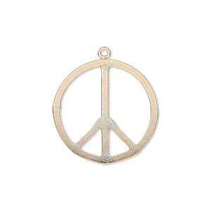 charm, 14kt gold-filled, 21mm flat peace sign. sold individually.