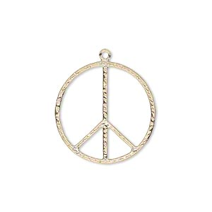 charm, 14kt gold-filled, 21mm textured peace sign. sold individually.