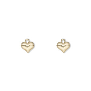 charm, 14kt gold-filled, 6x5mm single-sided puffed heart. sold per pkg of 2.