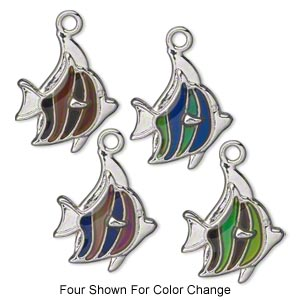 charm, acrylic and imitation rhodium-plated pewter (zinc-based alloy), multicolored, 25x21mm color-changing single-sided fish. sold per pkg of 2.