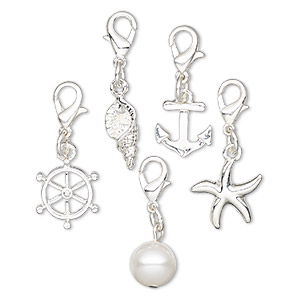 charm and drop, charmed, glass and silver-finished pewter (zinc-based alloy), white, 10mm-15x14mm assorted nautical theme with 6mm jumpring and lobster claw clasp. sold per 5-piece set.