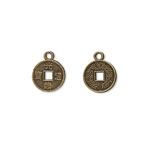 charm, antique brass-plated pewter (zinc-based alloy), 10mm chinese coin replica. sold per pkg of 50.