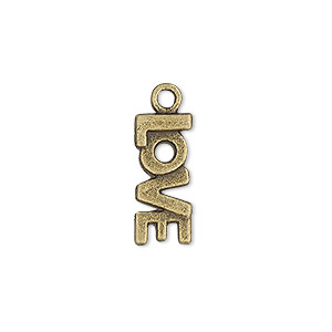 charm, antique brass-plated pewter (zinc-based alloy), 18x8mm single-sided love. sold per pkg of 10.
