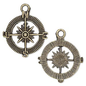 charm, antique brass-plated pewter (zinc-based alloy), 25x25mm single-sided compass rose. sold per pkg of 4.