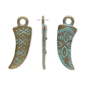 charm, antique copper-finished pewter (zinc-based alloy), green patina, 23x12mm two-sided horn. sold per pkg of 4.