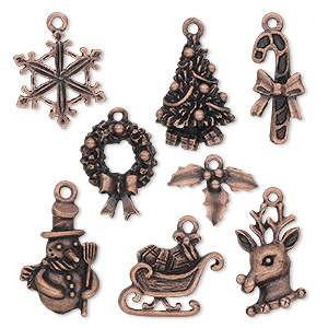 charm, antique copper-plated pewter (tin-based alloy), 12.5x9.5mm-23x17.5mm christmas theme. sold per 8-piece set.