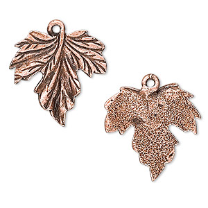 charm, antique copper-plated pewter (tin-based alloy), 20mm grape leaf. sold per pkg of 2.