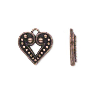 charm, antique copper-plated pewter (zinc-based alloy), 16x15mm single-sided beaded heart. sold per pkg of 20.