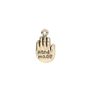 charm, antique gold-finished pewter (zinc-based alloy), 13x9mm double-sided hand with hand made. sold per pkg of 20.