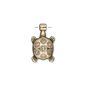 charm, antique gold-finished pewter (zinc-based alloy), 15x12mm single-sided turtle. sold per pkg of 20.