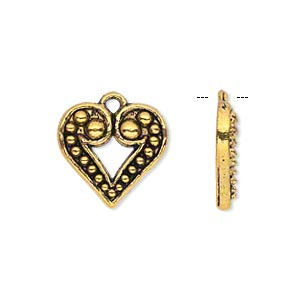 charm, antique gold-finished pewter (zinc-based alloy), 17x16mm single-sided beaded heart. sold per pkg of 20.