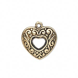 charm, antique gold-finished pewter (zinc-based alloy), 20x19mm single-sided open heart with swirls. sold per pkg of 10.