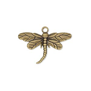 charm, antique gold-plated brass, 26x15mm single-sided dragonfly. sold per pkg of 10.
