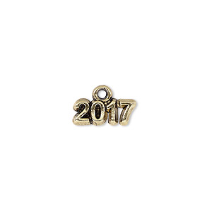 charm, antique gold-plated pewter (tin-based alloy), 13x5mm single-sided 2017. sold per pkg of 2.