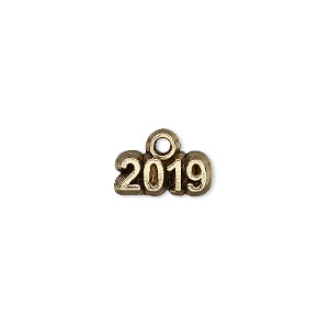 charm, antique gold-plated pewter (tin-based alloy), 13x5mm single-sided 2019. sold per pkg of 2.