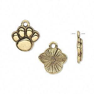 charm, antique gold-plated pewter (tin-based alloy), 15x13mm single-sided paw print. sold per pkg of 2.