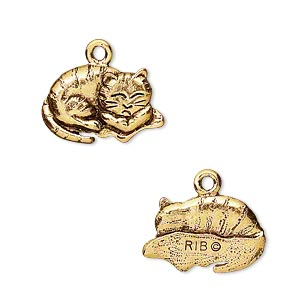 charm, antique gold-plated pewter (tin-based alloy), 18x12mm napping cat. sold per pkg of 2.