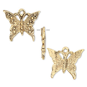 charm, antique gold-plated pewter (tin-based alloy), 22x18mm butterfly. sold per pkg of 2.