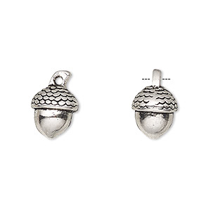 charm, antique silver-finished pewter (zinc-based alloy), 11x10mm 3d acorn. sold per pkg of 4.