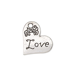 charm, antique silver-finished pewter (zinc-based alloy), 21x18mm single-sided heart with love and flower design. sold per pkg of 2.