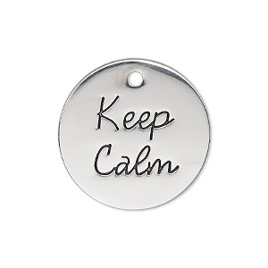 charm, antique silver-finished pewter (zinc-based alloy), 25mm single-sided flat round with keep calm. sold individually.