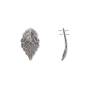 charm, antique silver-plated brass, 17.5x10mm single-sided curved leaf with hole. sold per pkg of 20.
