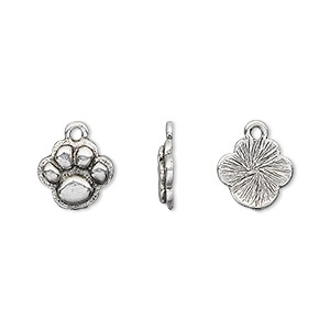 charm, antique silver-plated pewter (tin-based alloy), 12x10mm single-sided paw print. sold per pkg of 4.