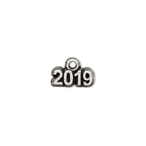 charm, antique silver-plated pewter (tin-based alloy), 13x5mm single-sided 2019. sold per pkg of 2.
