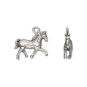 charm, antique silver-plated pewter (tin-based alloy), 17.5x16.5mm double-sided horse. sold per pkg of 2.