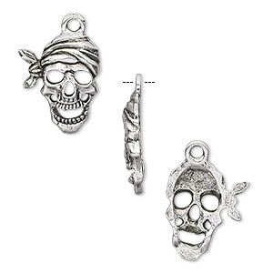charm, antique silver-plated pewter (tin-based alloy), 20x13mm pirate skull. sold per pkg of 4.