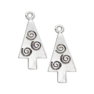 charm, antique silver-plated pewter (tin-based alloy), 24x13mm single-sided tree with swirl designs. sold per pkg of 2.