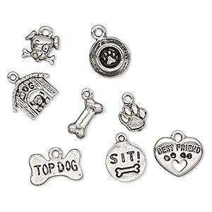 charm, antique silver-plated pewter (tin-based alloy), 9x9mm-16.5x12mm assorted dog lover theme. sold per 8-piece set.